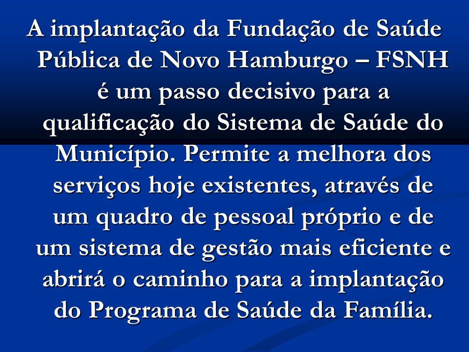 A implantação da Fundação de Saúde Pública de Novo Hamburgo – FSNH é um passo decisivo para a qualificação do Sistema de Saúde do Município. Permite a