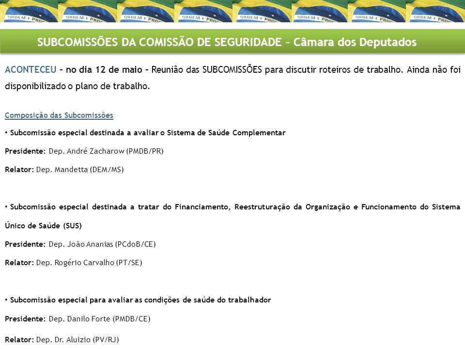 PAUTA PREVISTA NA CÂMARA DOS DEPUTADOS TEMA: AGENTES COMUNITÁRIOS DE SAÚDE Previsto para o dia 18 de maio - CSSF APRESENTAÇÃO NA CSSF – REQ 40/2011 - do Sr.