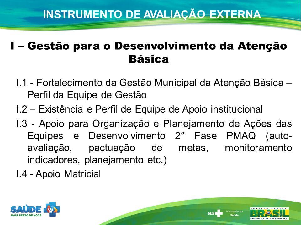 I – Gestão para o Desenvolvimento da Atenção Básica I.1 - Fortalecimento da Gestão Municipal da Atenção Básica – Perfil da Equipe de Gestão I.2 – Exis