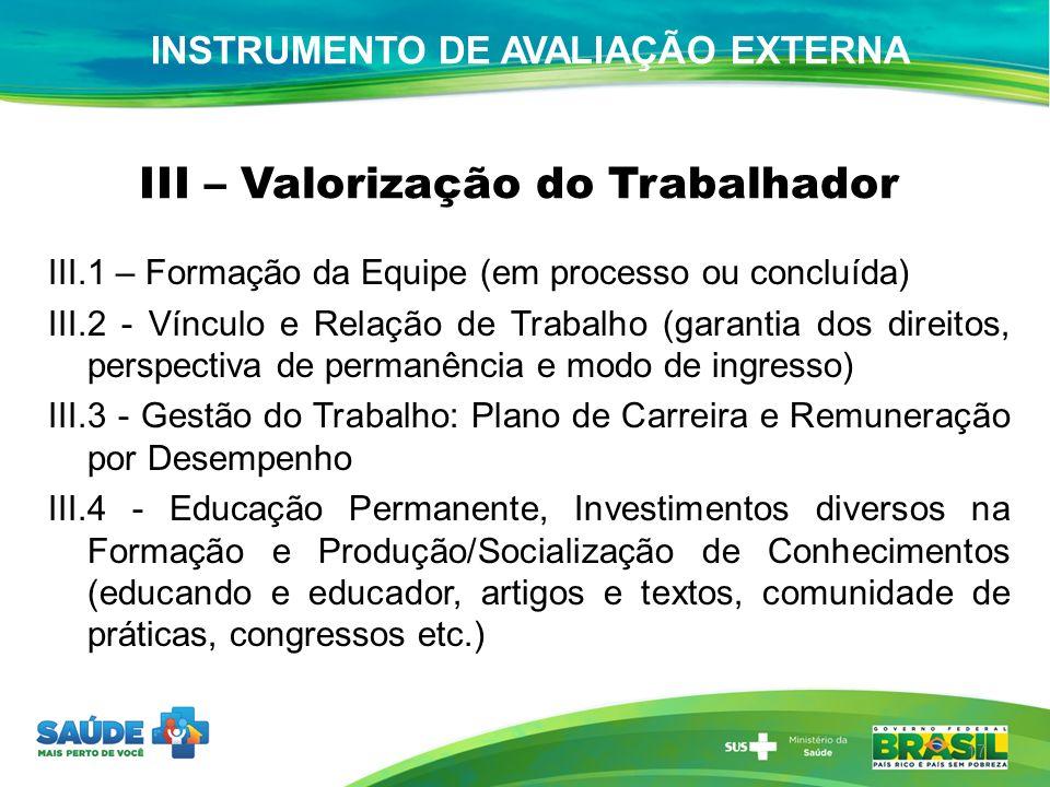 III – Valorização do Trabalhador III.1 – Formação da Equipe (em processo ou concluída) III.2 - Vínculo e Relação de Trabalho (garantia dos direitos, p