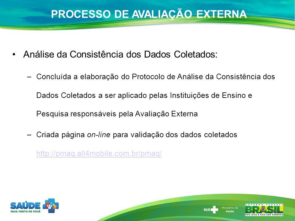 Análise da Consistência dos Dados Coletados: –Concluída a elaboração do Protocolo de Análise da Consistência dos Dados Coletados a ser aplicado pelas
