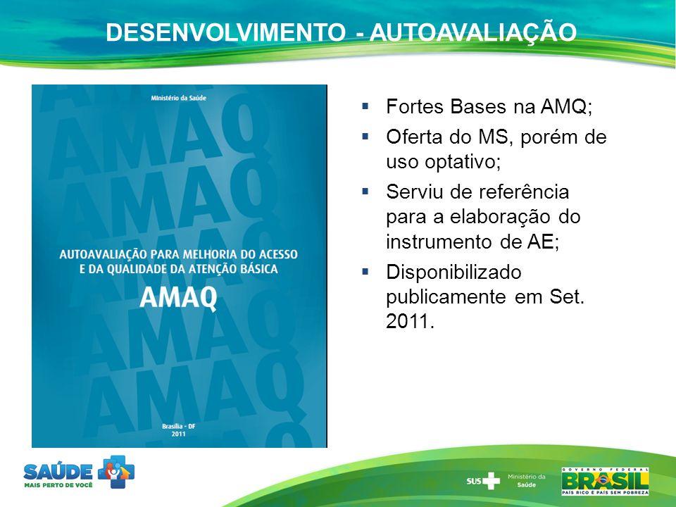 DESENVOLVIMENTO - AUTOAVALIAÇÃO Fortes Bases na AMQ; Oferta do MS, porém de uso optativo; Serviu de referência para a elaboração do instrumento de AE;