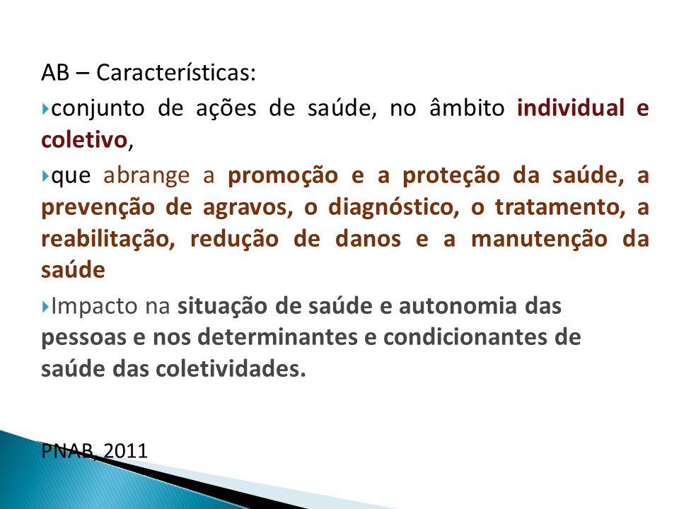 AB – Características: conjunto de ações de saúde, no âmbito individual e coletivo, que abrange a promoção e a proteção da saúde, a prevenção de agravo