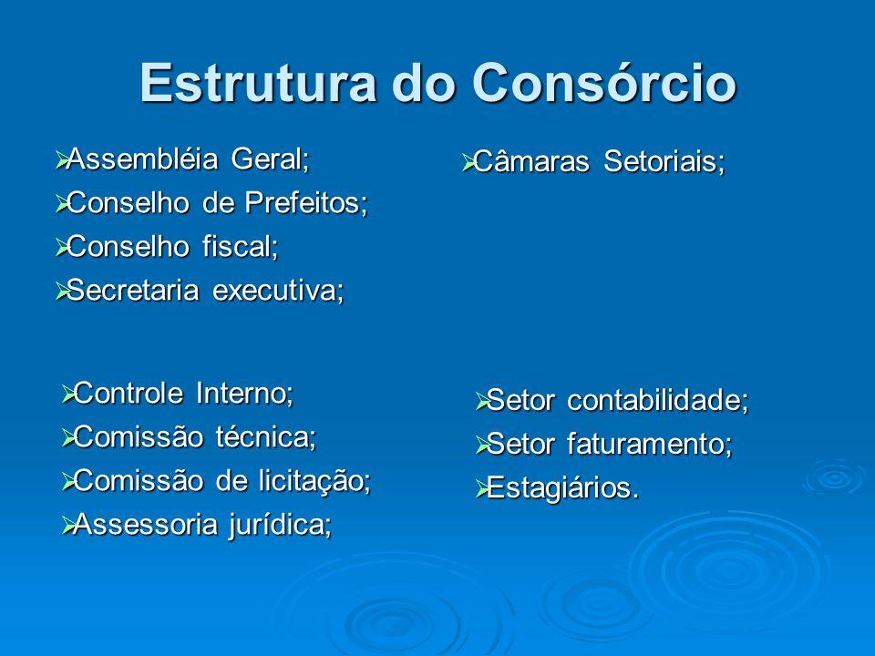 Estrutura do Consórcio Assembléia Geral; Assembléia Geral; Conselho de Prefeitos; Conselho de Prefeitos; Conselho fiscal; Conselho fiscal; Secretaria