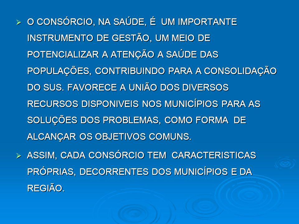 O CONSÓRCIO, NA SAÚDE, É UM IMPORTANTE INSTRUMENTO DE GESTÃO, UM MEIO DE POTENCIALIZAR A ATENÇÃO A SAÚDE DAS POPULAÇÕES, CONTRIBUINDO PARA A CONSOLIDA