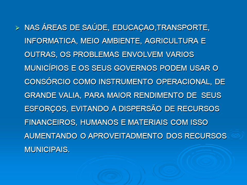 NAS ÁREAS DE SAÚDE, EDUCAÇAO,TRANSPORTE, INFORMATICA, MEIO AMBIENTE, AGRICULTURA E OUTRAS, OS PROBLEMAS ENVOLVEM VARIOS MUNICÍPIOS E OS SEUS GOVERNOS