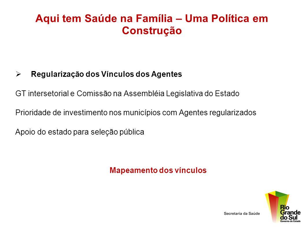 Aqui tem Saúde na Família – Uma Política em Construção Regularização dos Vínculos dos Agentes GT intersetorial e Comissão na Assembléia Legislativa do