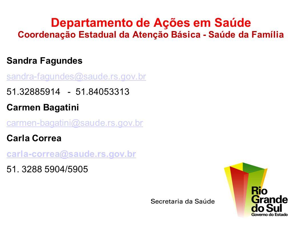 Departamento de Ações em Saúde Coordenação Estadual da Atenção Básica - Saúde da Família Sandra Fagundes sandra-fagundes@saude.rs.gov.br 51.32885914 -