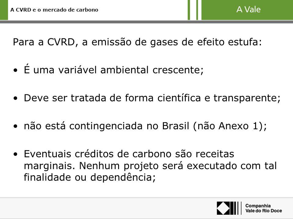 Para a CVRD, a emissão de gases de efeito estufa: É uma variável ambiental crescente; Deve ser tratada de forma científica e transparente; não está contingenciada no Brasil (não Anexo 1); Eventuais créditos de carbono são receitas marginais.