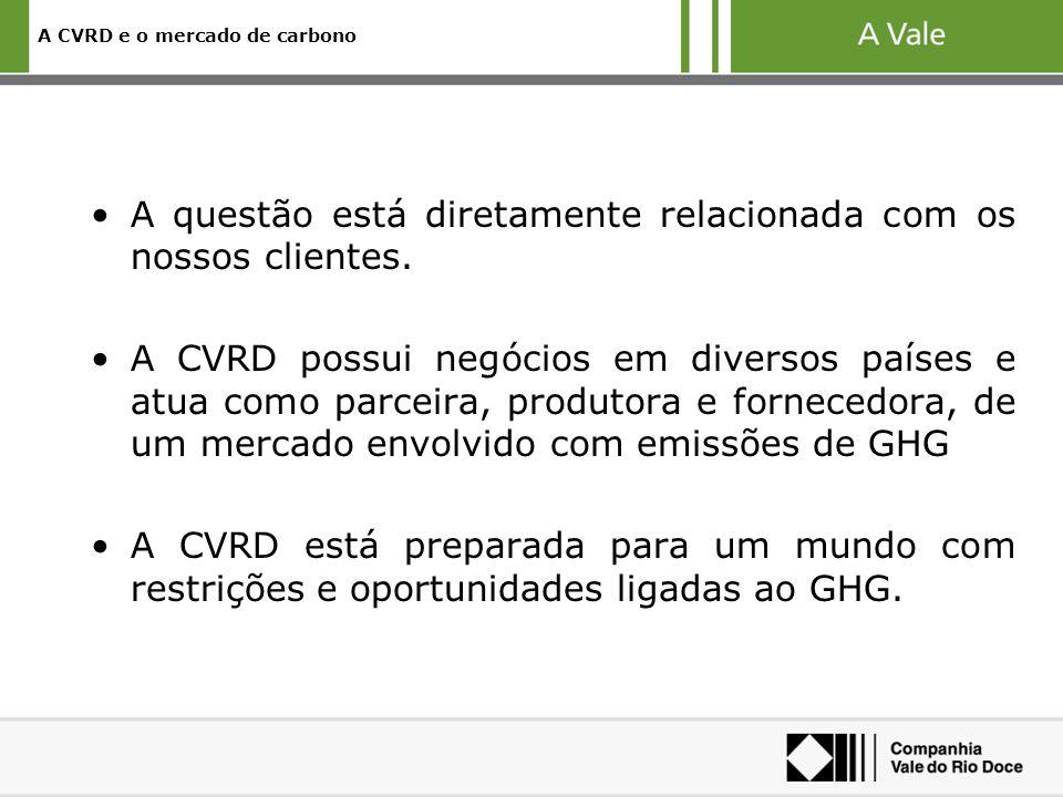A CVRD e o mercado de carbono A questão está diretamente relacionada com os nossos clientes.
