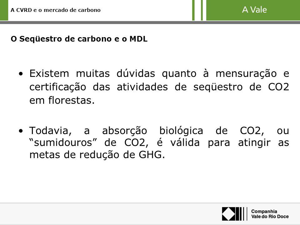 A CVRD e o mercado de carbono O Seqüestro de carbono e o MDL Existem muitas dúvidas quanto à mensuração e certificação das atividades de seqüestro de CO2 em florestas.