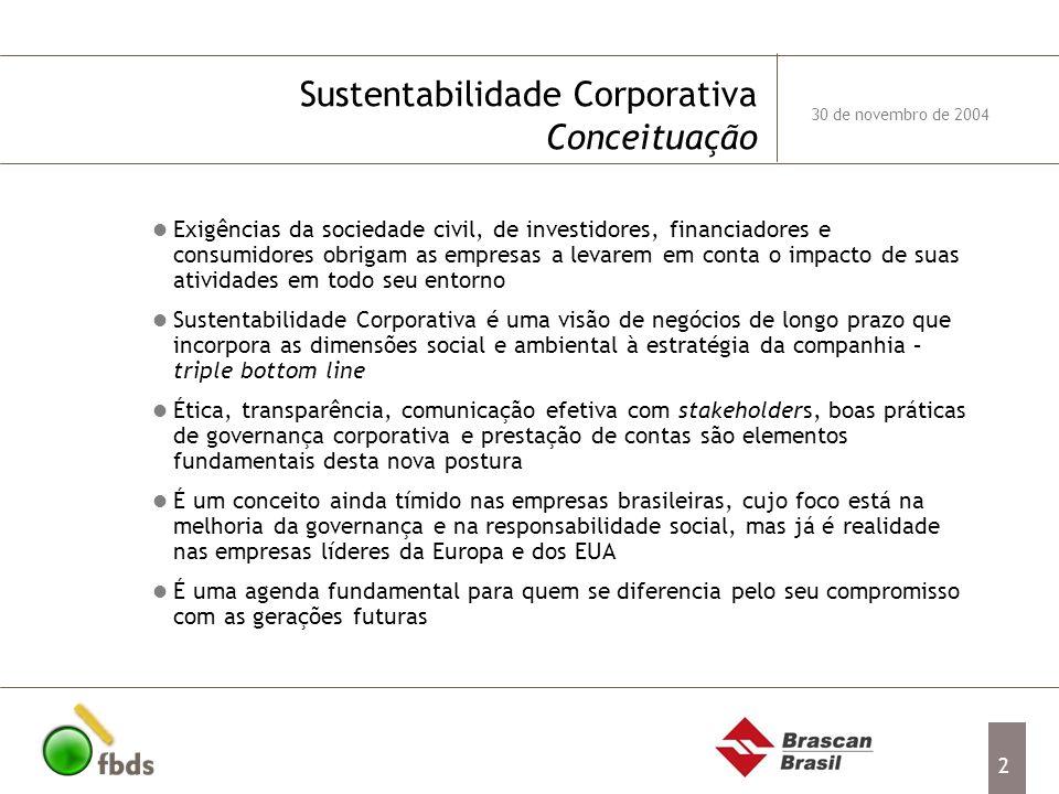 2 Sustentabilidade Corporativa Conceituação Exigências da sociedade civil, de investidores, financiadores e consumidores obrigam as empresas a levarem