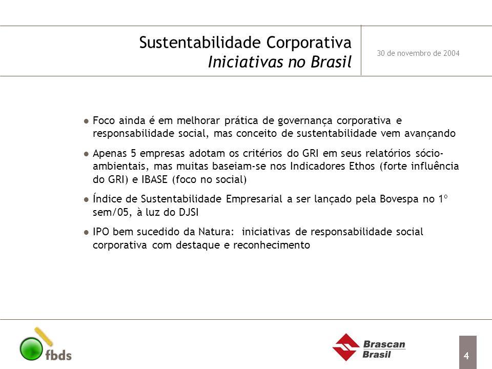 4 Sustentabilidade Corporativa Iniciativas no Brasil Foco ainda é em melhorar prática de governança corporativa e responsabilidade social, mas conceit