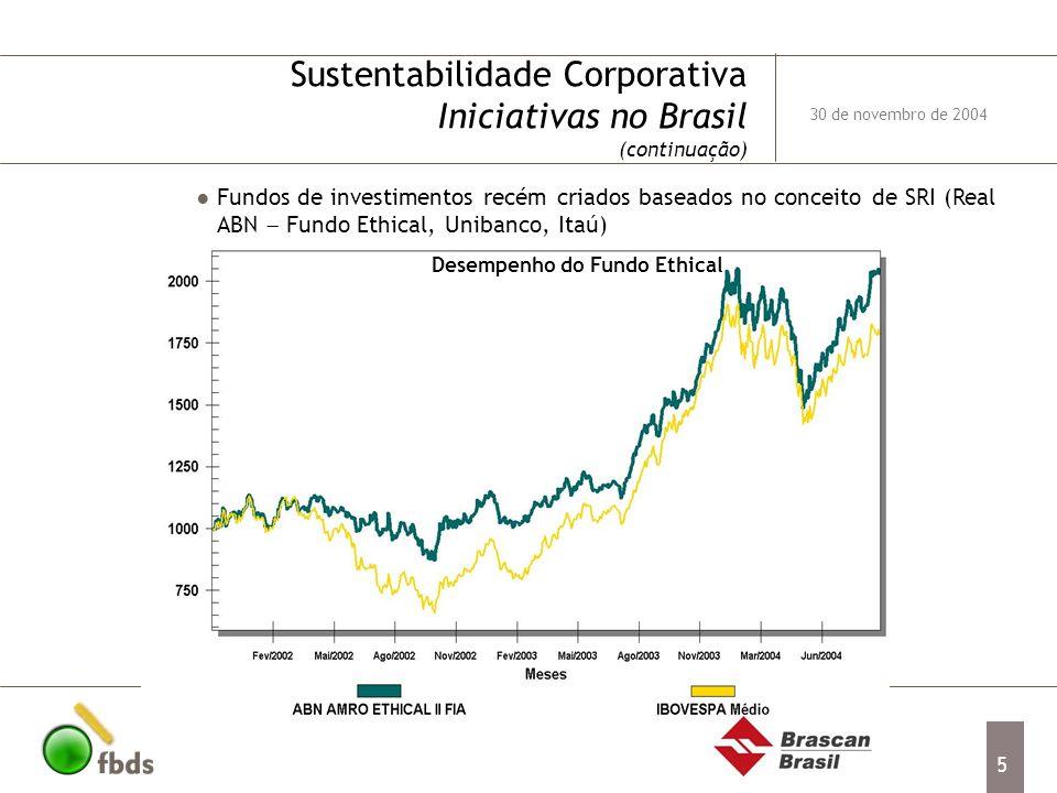 5 Sustentabilidade Corporativa Iniciativas no Brasil (continuação) Fundos de investimentos recém criados baseados no conceito de SRI (Real ABN Fundo E