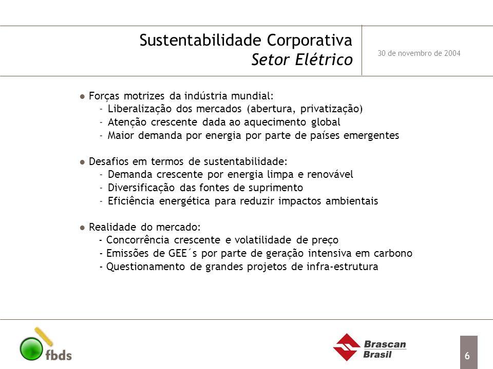 6 Forças motrizes da indústria mundial: -Liberalização dos mercados (abertura, privatização) -Atenção crescente dada ao aquecimento global -Maior dema
