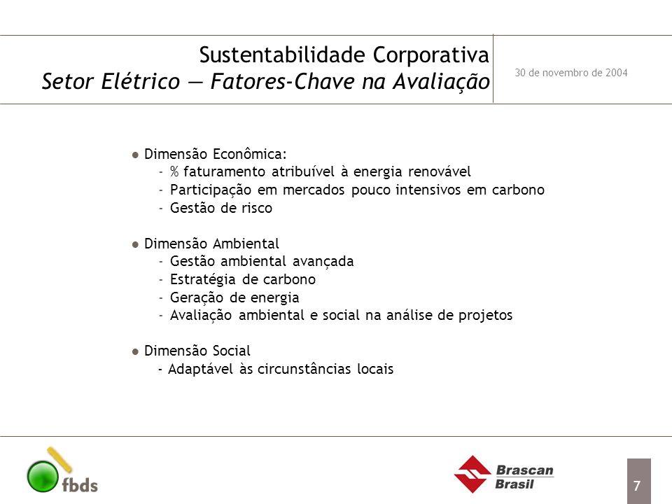 7 Dimensão Econômica: -% faturamento atribuível à energia renovável -Participação em mercados pouco intensivos em carbono -Gestão de risco Dimensão Am