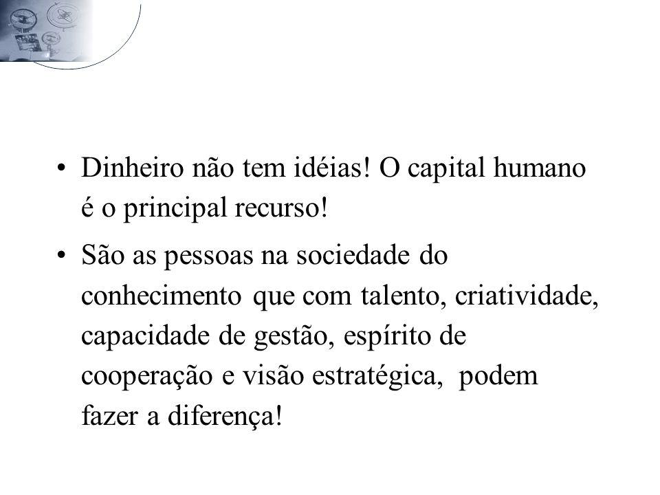 Dinheiro não tem idéias.O capital humano é o principal recurso.