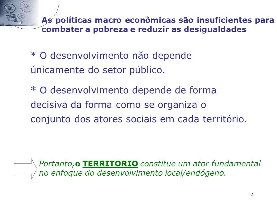 2 As políticas macro econômicas são insuficientes para combater a pobreza e reduzir as desigualdades * O desenvolvimento não depende únicamente do setor público.