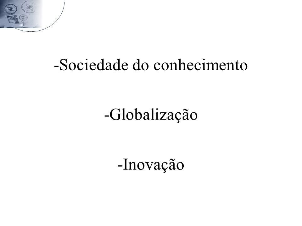 -Sociedade do conhecimento -Globalização -Inovação