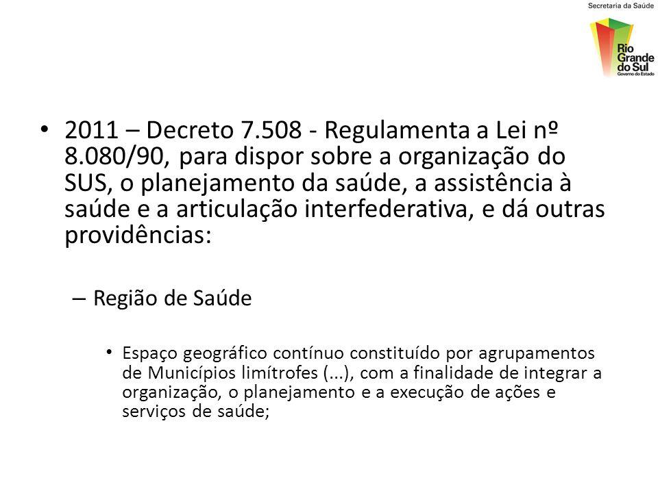 2011 – Decreto 7.508 - Regulamenta a Lei nº 8.080/90, para dispor sobre a organização do SUS, o planejamento da saúde, a assistência à saúde e a artic
