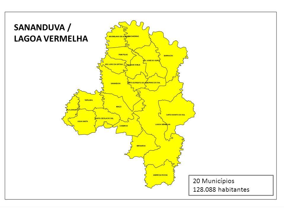 SANANDUVA / LAGOA VERMELHA 20 Municípios 128.088 habitantes