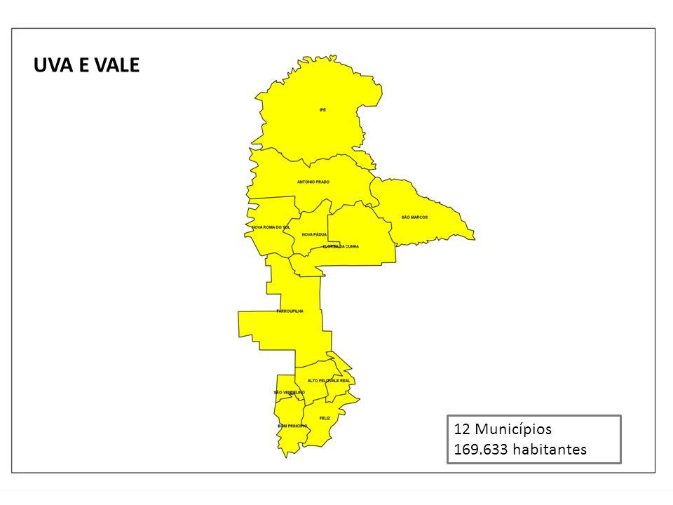 UVA E VALE 12 Municípios 169.633 habitantes
