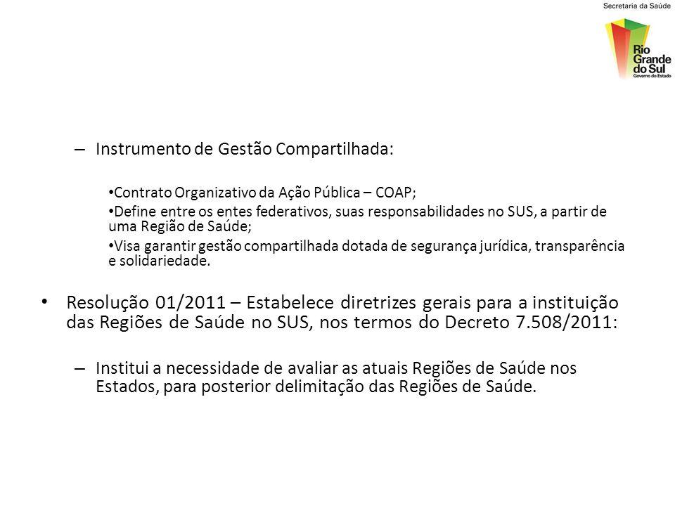 – Instrumento de Gestão Compartilhada: Contrato Organizativo da Ação Pública – COAP; Define entre os entes federativos, suas responsabilidades no SUS,