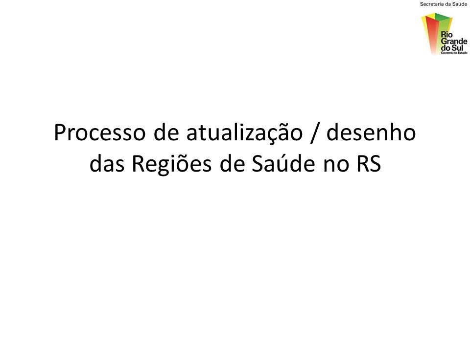Processo de atualização / desenho das Regiões de Saúde no RS