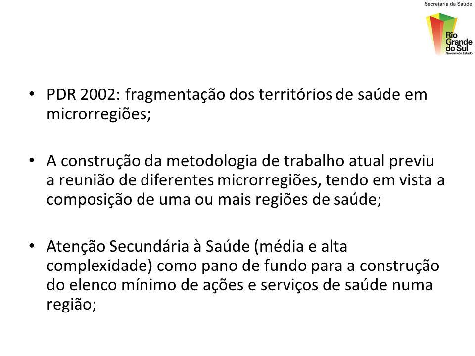 PDR 2002: fragmentação dos territórios de saúde em microrregiões; A construção da metodologia de trabalho atual previu a reunião de diferentes microrr