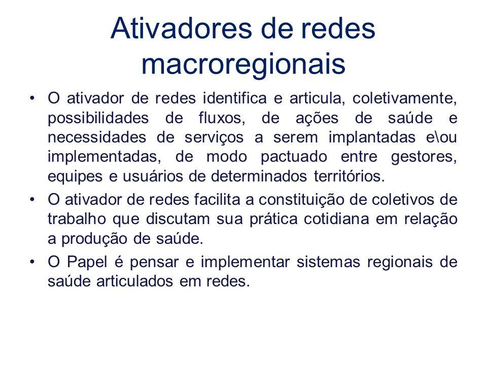 Ativadores de redes macroregionais O ativador de redes identifica e articula, coletivamente, possibilidades de fluxos, de ações de saúde e necessidade