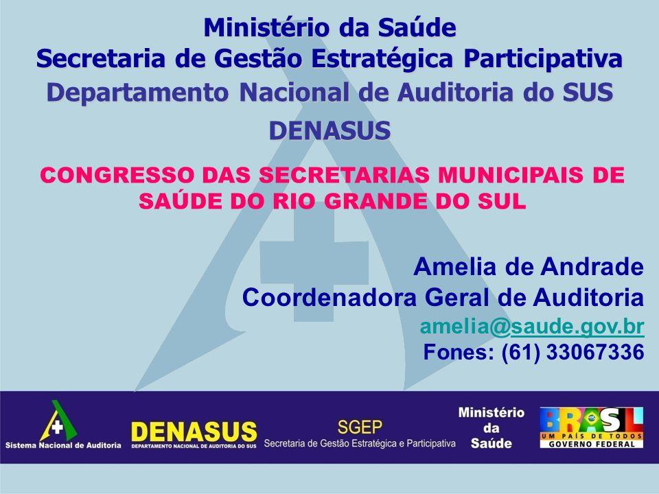 Departamento Nacional de Auditoria do SUS DENASUS Amelia de Andrade Coordenadora Geral de Auditoria amelia@saude.gov.brsaude.gov.br Fones: (61) 330673