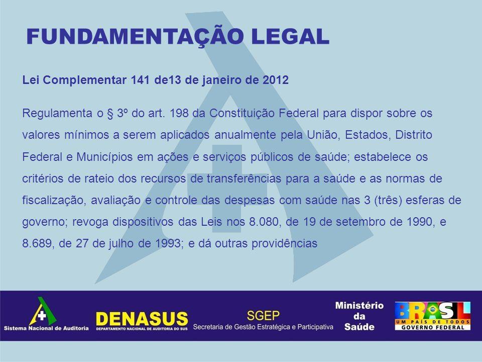 Lei Complementar 141 de13 de janeiro de 2012 Regulamenta o § 3º do art. 198 da Constituição Federal para dispor sobre os valores mínimos a serem aplic