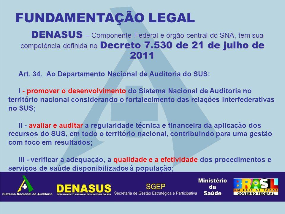 DENASUS – Componente Federal e órgão central do SNA, tem sua competência definida no Decreto 7.530 de 21 de julho de 2011 Art. 34. Ao Departamento Nac