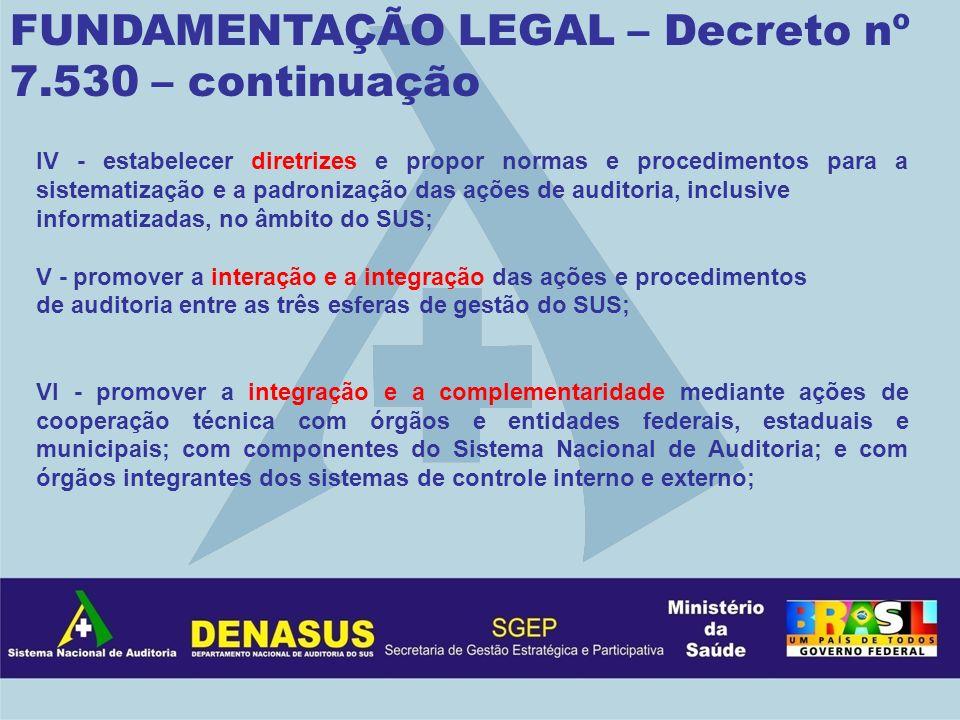 IV - estabelecer diretrizes e propor normas e procedimentos para a sistematização e a padronização das ações de auditoria, inclusive informatizadas, n