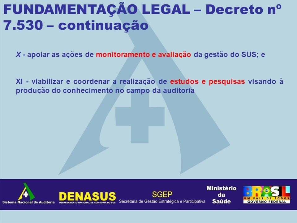 FUNDAMENTAÇÃO LEGAL – Decreto nº 7.530 – continuação X - apoiar as ações de monitoramento e avaliação da gestão do SUS; e XI - viabilizar e coordenar