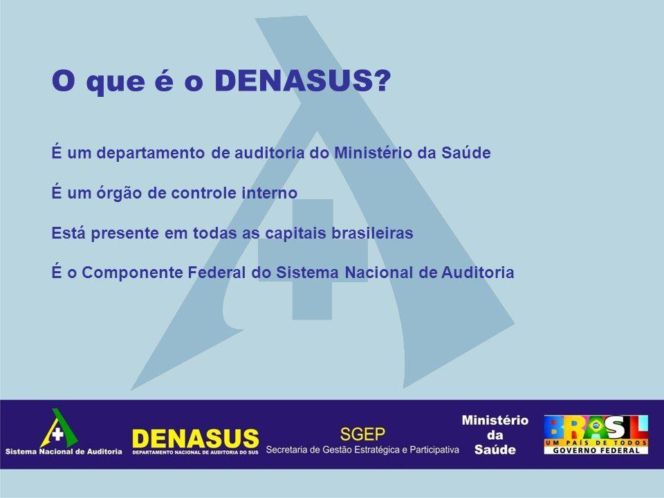 O que é o DENASUS? É um departamento de auditoria do Ministério da Saúde É um órgão de controle interno Está presente em todas as capitais brasileiras