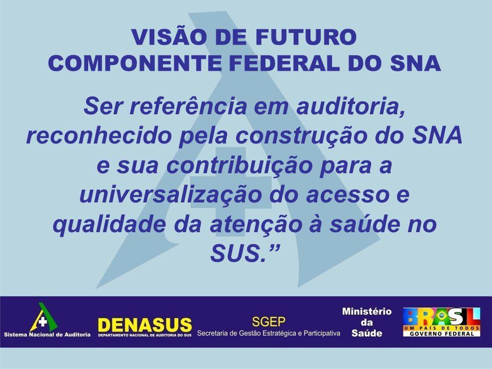 Ser referência em auditoria, reconhecido pela construção do SNA e sua contribuição para a universalização do acesso e qualidade da atenção à saúde no