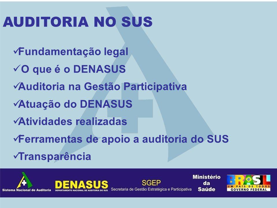 Fundamentação legal O que é o DENASUS Auditoria na Gestão Participativa Atuação do DENASUS Atividades realizadas Ferramentas de apoio a auditoria do S