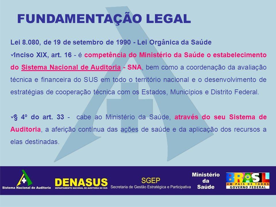 Lei 8.080, de 19 de setembro de 1990 - Lei Orgânica da Saúde Inciso XIX, art. 16 - é competência do Ministério da Saúde o estabelecimento do Sistema N