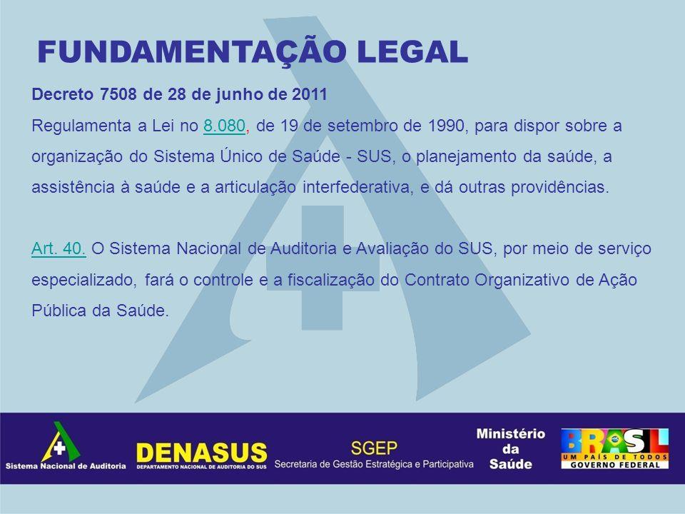 Decreto 7508 de 28 de junho de 2011 Regulamenta a Lei no 8.080, de 19 de setembro de 1990, para dispor sobre a organização do Sistema Único de Saúde -