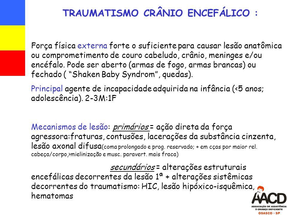 TRAUMATISMO CRÂNIO ENCEFÁLICO : Força física externa forte o suficiente para causar lesão anatômica ou comprometimento de couro cabeludo, crânio, meninges e/ou encéfalo.