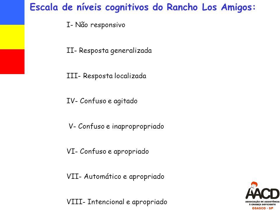 Escala de níveis cognitivos do Rancho Los Amigos: I- Não responsivo II- Resposta generalizada III- Resposta localizada IV- Confuso e agitado V- Confuso e inapropropriado VI- Confuso e apropriado VII- Automático e apropriado VIII- Intencional e apropriado