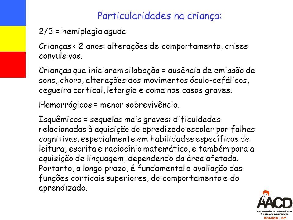 Particularidades na criança: 2/3 = hemiplegia aguda Crianças < 2 anos: alterações de comportamento, crises convulsivas.