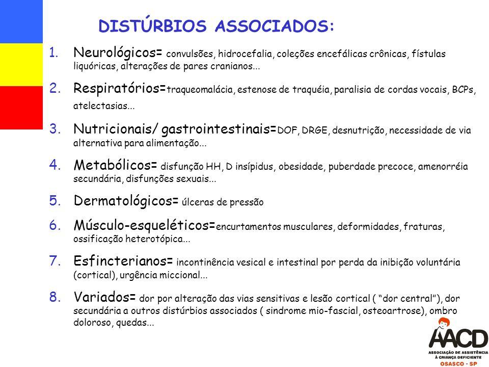 DISTÚRBIOS ASSOCIADOS: 1.Neurológicos= convulsões, hidrocefalia, coleções encefálicas crônicas, fístulas liquóricas, alterações de pares cranianos...