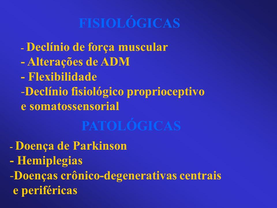 FISIOLÓGICAS - Declínio de força muscular - Alterações de ADM - Flexibilidade -Declínio fisiológico proprioceptivo e somatossensorial PATOLÓGICAS - Do