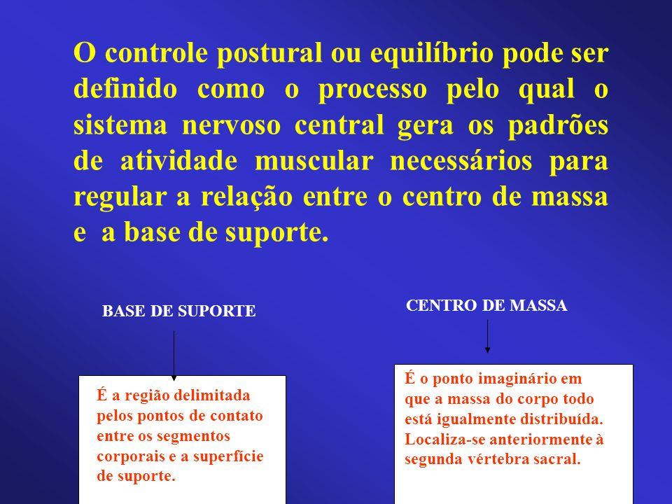 O controle postural ou equilíbrio pode ser definido como o processo pelo qual o sistema nervoso central gera os padrões de atividade muscular necessár
