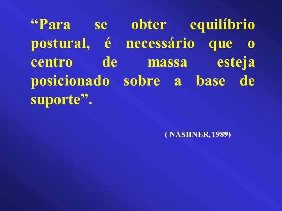 Para se obter equilíbrio postural, é necessário que o centro de massa esteja posicionado sobre a base de suporte. ( NASHNER, 1989)
