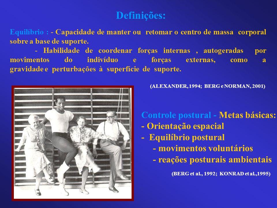 Definições: Equilíbrio : - Capacidade de manter ou retomar o centro de massa corporal sobre a base de suporte. - Habilidade de coordenar forças intern