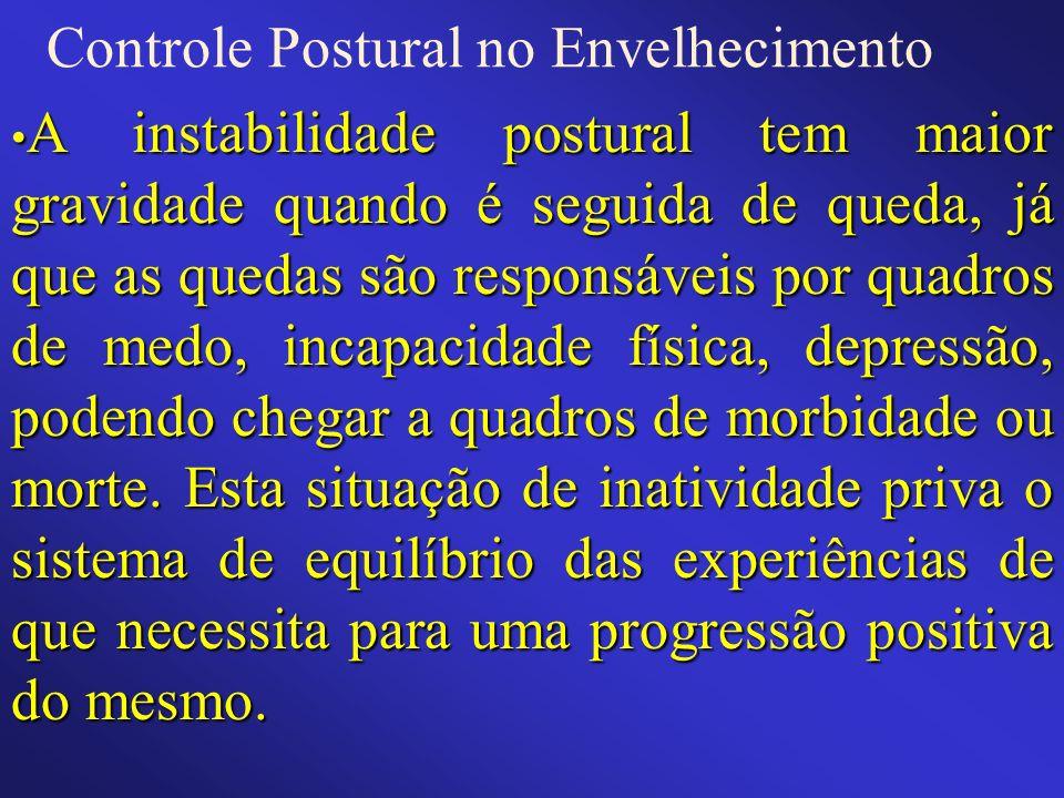 Controle Postural no Envelhecimento A instabilidade postural tem maior gravidade quando é seguida de queda, já que as quedas são responsáveis por quad