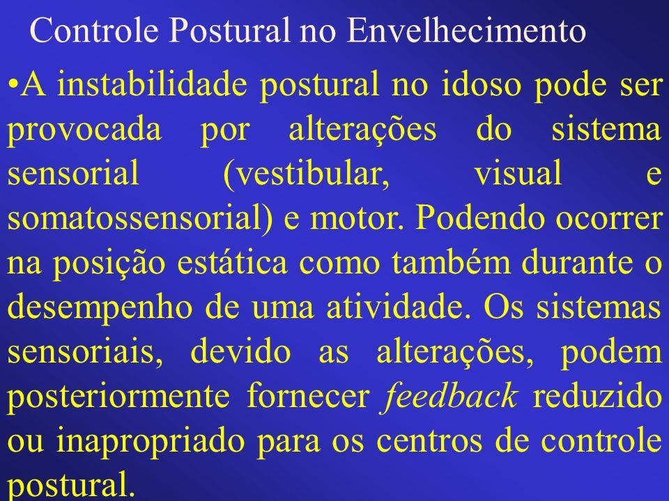 Controle Postural no Envelhecimento A instabilidade postural no idoso pode ser provocada por alterações do sistema sensorial (vestibular, visual e som